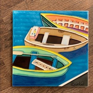 Ceramic hand painted tile
